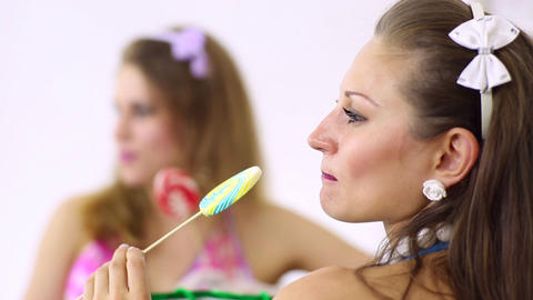 Girls with lollipop Stock Video Footage
