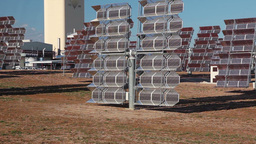Reflectors of solar power station. Close up Footage