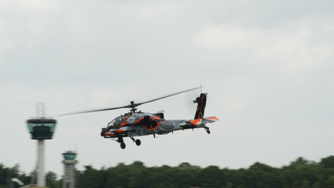 Apache AH 64 Helicopter lift off 10945 Stock Video Footage