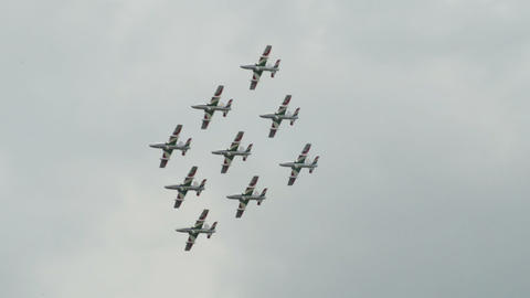 Frecce Tricolori diamond formation 10947 Stock Video Footage
