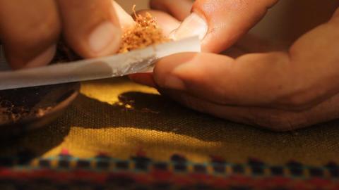 Cigarette macro addicted smoke tobacco nicotine he Stock Video Footage
