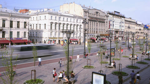 Time lapse of the Nevsky Avenue in Saint-Petersbur Stock Video Footage