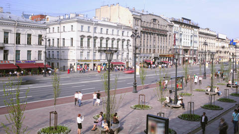 Time lapse of the Nevsky Avenue in Saint-Petersbur Footage