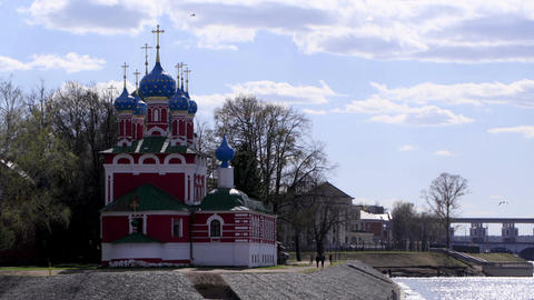 Church of the Dmitry in Uglich, Russia. Time lapse Footage