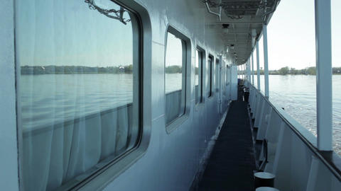 Deck Of The Cruise Ship. River Volga, Russia stock footage