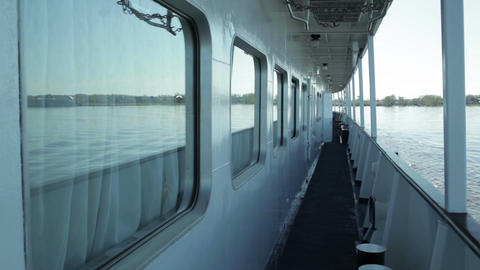 Deck of the cruise ship. River Volga, Russia Stock Video Footage