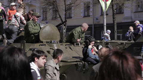 People celebrate the Victory Day Stock Video Footage