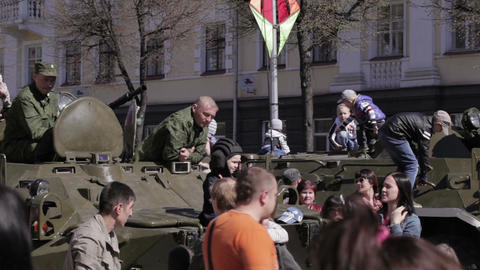 People celebrate the Victory Day Footage