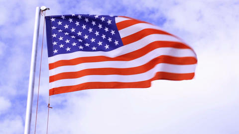 USA flag waving in the wind Footage