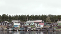 Old village houses on the river Volga in Russia Stock Video Footage