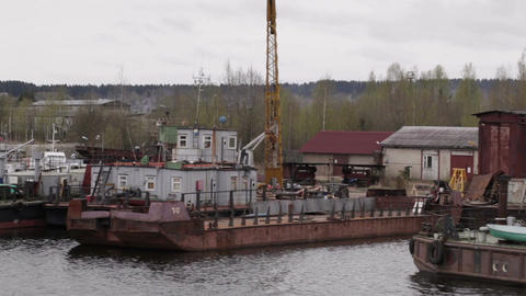 Old repair and freight ships at berth Footage