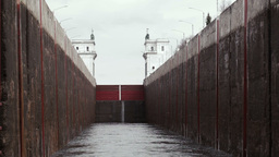 Lock on the river Volga in Russia Stock Video Footage