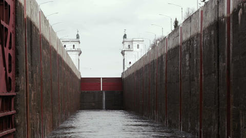 Lock on the river Volga in Russia Footage