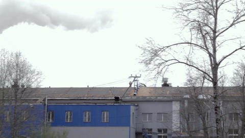 Old Abandoned Factory With Working Chimney stock footage