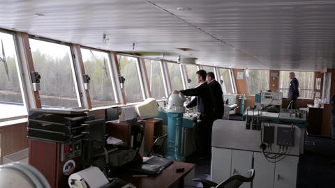 Navigation officer driving the cruise liner on the Stock Video Footage