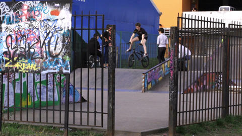 Performance of teenager cyclists at the backyard Stock Video Footage