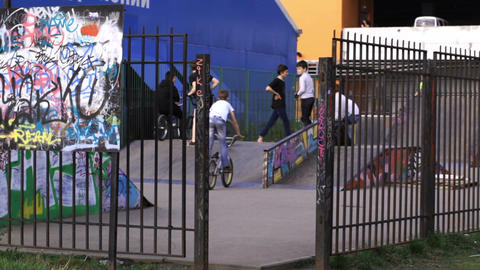 Performance of teenager cyclists at the backyard Footage