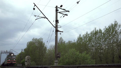 Freight train shot from low angle Stock Video Footage