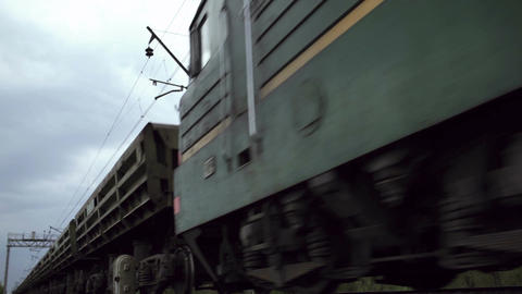 Freight train shot from low angle Footage