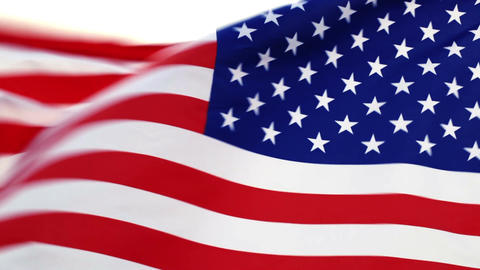 USA Flag Waving In The Wind stock footage
