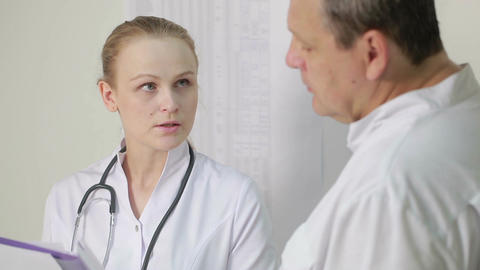 The Nurse Reported To The Doctor About Medical Tes stock footage