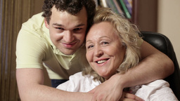 Son Hugs His Mother 2 stock footage