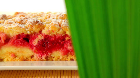 Piece of fruit cake - dolly shot Stock Video Footage