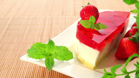 Strawberry cheesecake with jelly - dolly shot Stock Video Footage