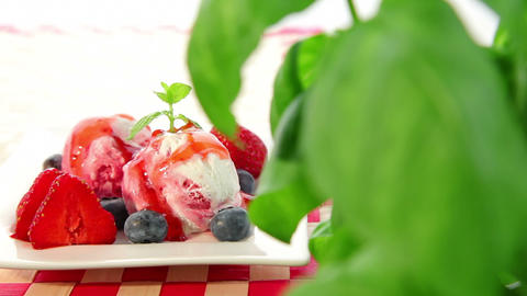 Strawberry ice cream with strawberry Stock Video Footage