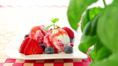 Strawberry ice cream with strawberry Footage