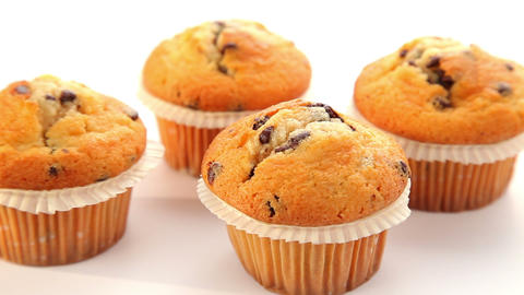 Fresh muffin with chocolate - dolly shot Stock Video Footage