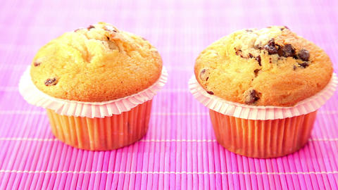 Delicious muffins with chocolate - dolly shot Footage