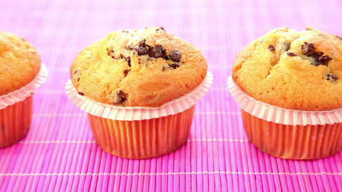Delicious muffins with chocolate - dolly shot Stock Video Footage