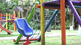 Empty single swing set. Missing of a son or daught Footage