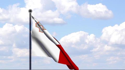 Animated Flag of Malta Stock Video Footage