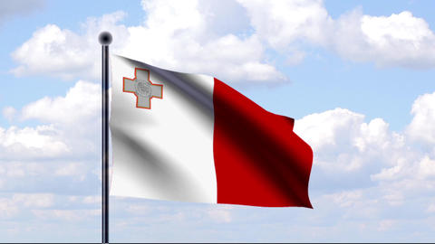 Animated Flag of Malta Stock Video Footage