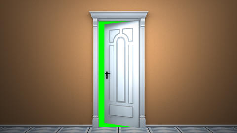 Door to green key Stock Video Footage
