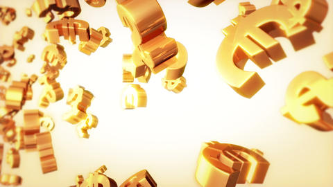 Currencies Loop Golden Stock Video Footage