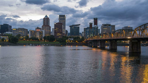 Portland Oregon at dusk, time lapse Stock Video Footage