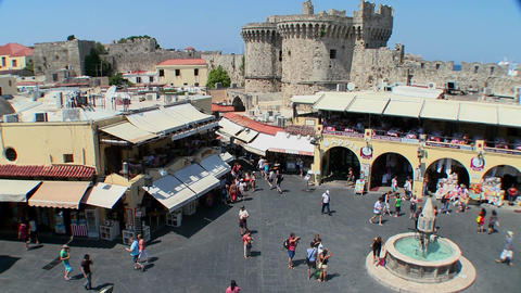 An overview of the European town square at Rhodes, Stock Video Footage
