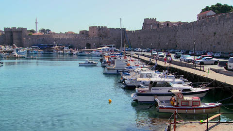 The beautiful harborfront at Rhodes, Greece Stock Video Footage