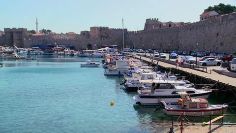 The beautiful harborfront at Rhodes, Greece Footage