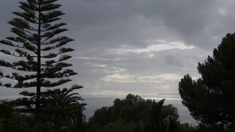 Beautiful clouds move along the California coast w Stock Video Footage