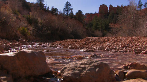 A low angle view of a river flowing through a culv Footage