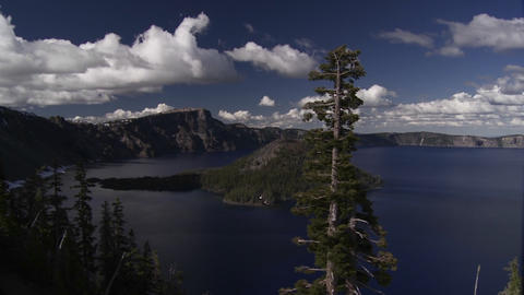 The beautiful shores of Crater Lake, Oregon Stock Video Footage