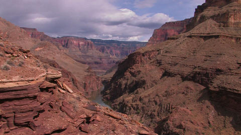 A view along the Grand Canyon in Arizona Stock Video Footage