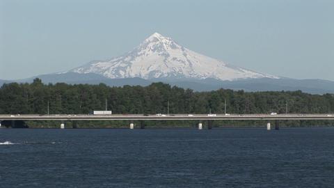 Traffic near Portland Oregon with Mt. Hood backgro Stock Video Footage
