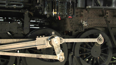 The gears of a steam locomotive Stock Video Footage