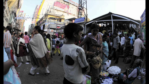 Time lapse shot of people on an Indian street Stock Video Footage