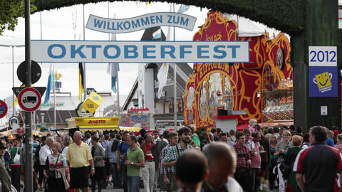 Establishing shot of Oktoberfest in Germany Stock Video Footage